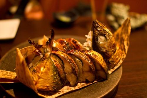 Sushi macrell wedi'i bobi